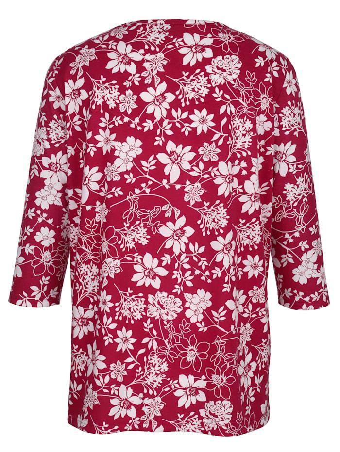 Shirt mit kontrastfarbenem Blütendruckmuster rundum