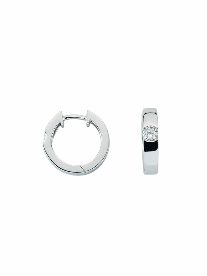 1001 Diamonds Damen Silberschmuck 925 Silber Ohrringe / Creolen mit Zirkonia Ø 15,6 mm, silber