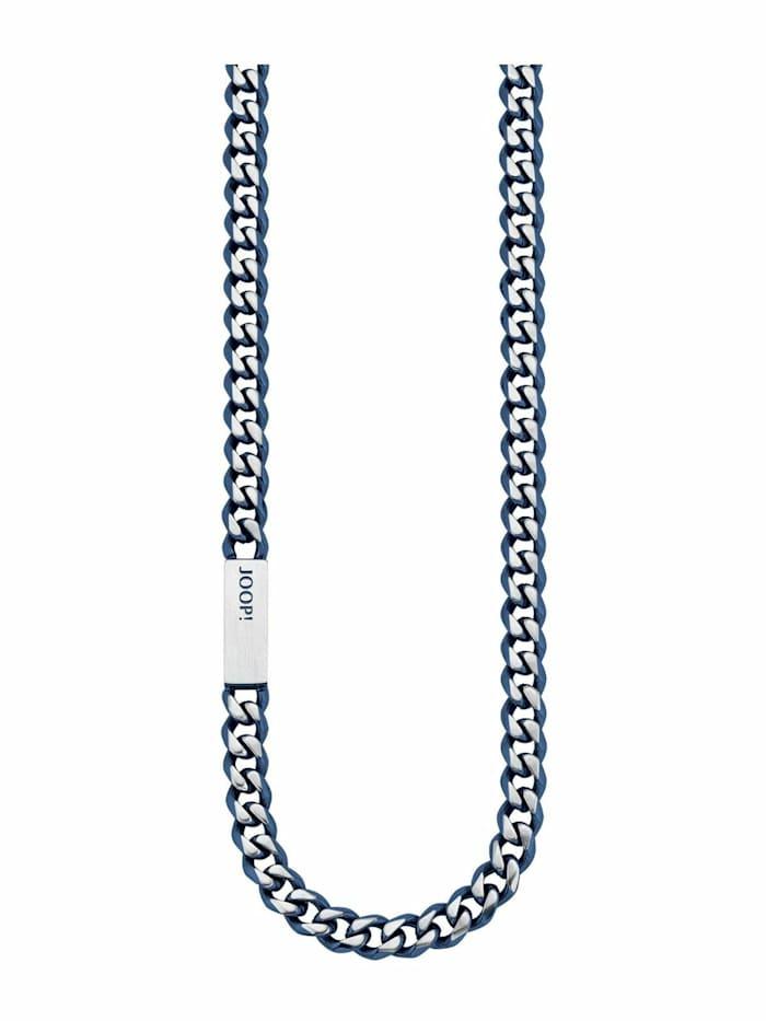 JOOP! Halskette für Herren, Edelstahl IP Blau, Silber