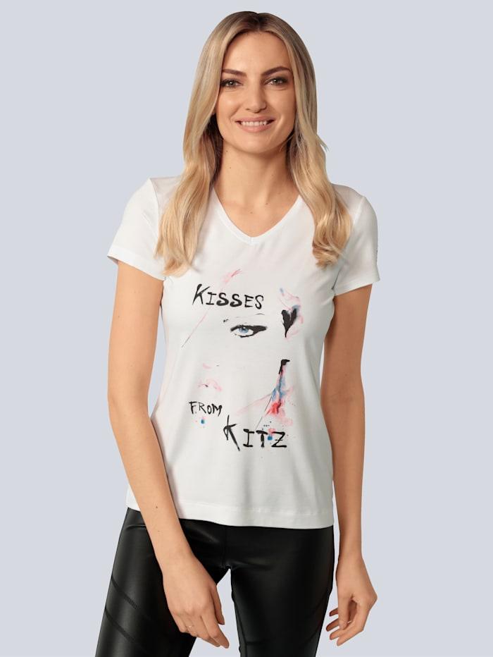 SPORTALM Shirt in Aquarelloptik, Weiß