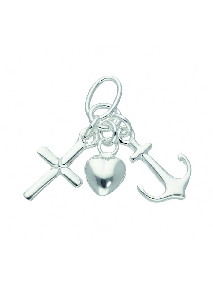 1001 Diamonds Damen Silberschmuck 925 Silber Anhänger Glaube-Liebe-Hoffnung, silber