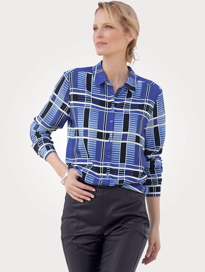 MONA Bluse aus reiner Viskose, Blau/Hellblau