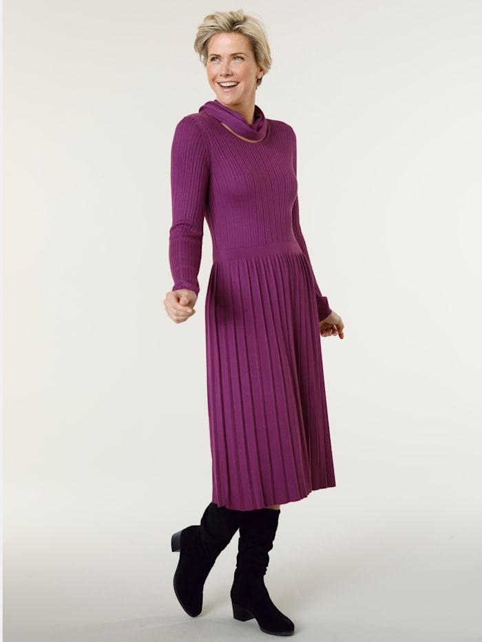 MONA Robe en maille avec écharpe tube en maille fine, Fuchsia