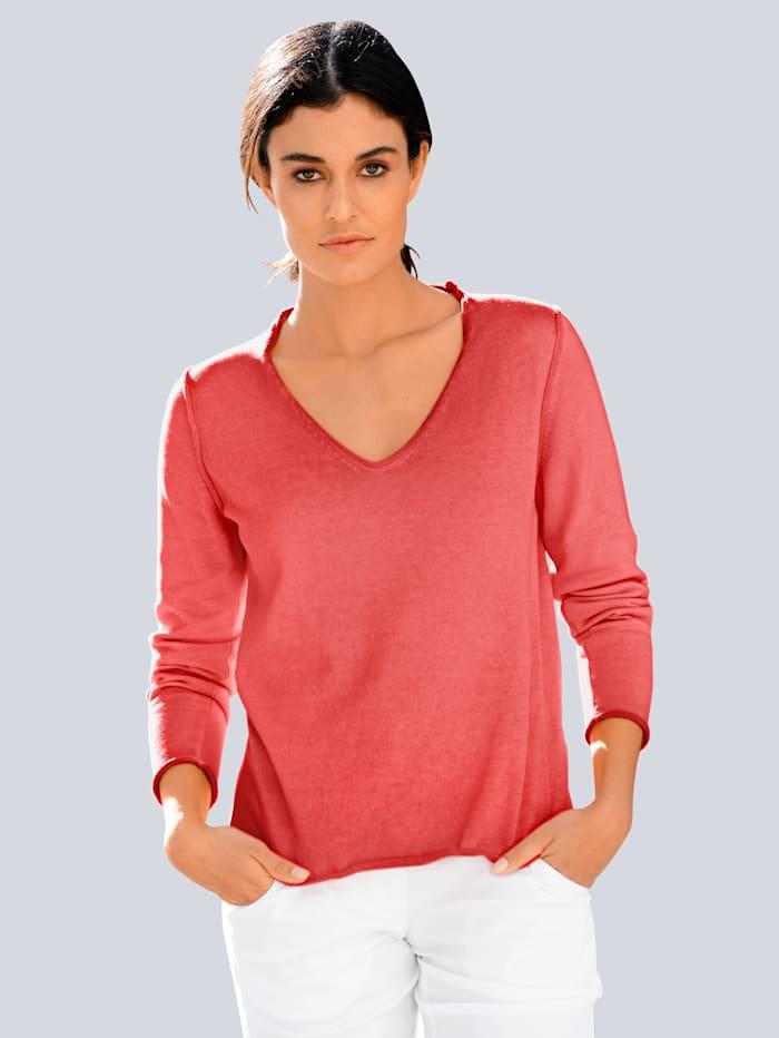 Alba Moda Pullover im Oildye-Look, Koralle