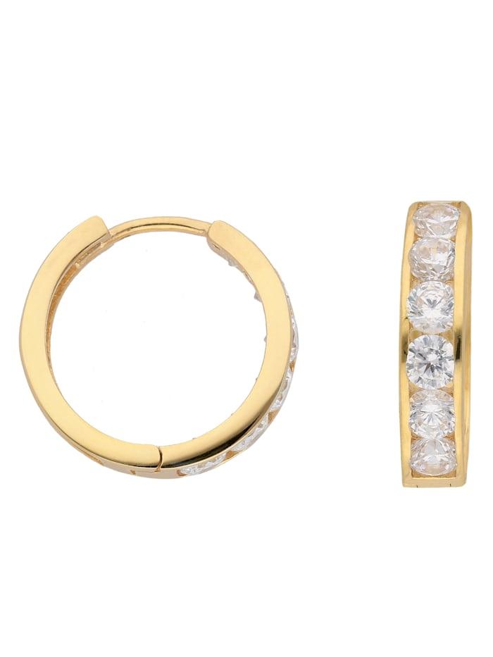 1001 Diamonds Damen Goldschmuck 333 Gold Ohrringe / Creolen mit Zirkonia Ø 15,7 mm, gold