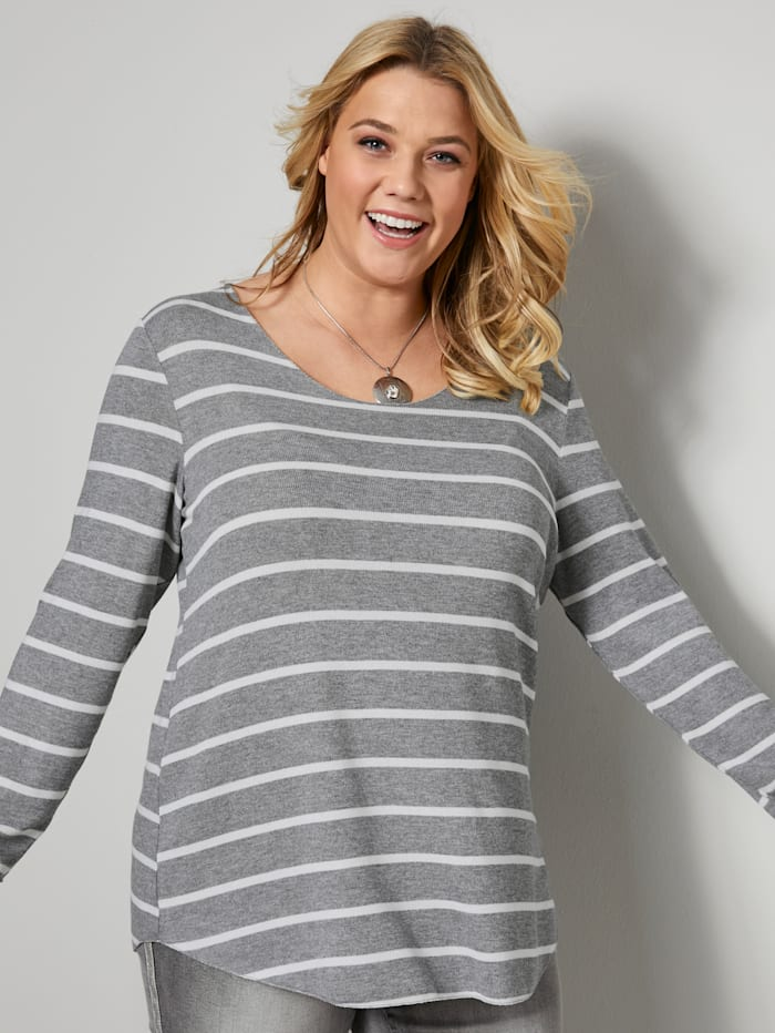 Janet & Joyce Shirt met strepen, Lichtgrijs/Wit