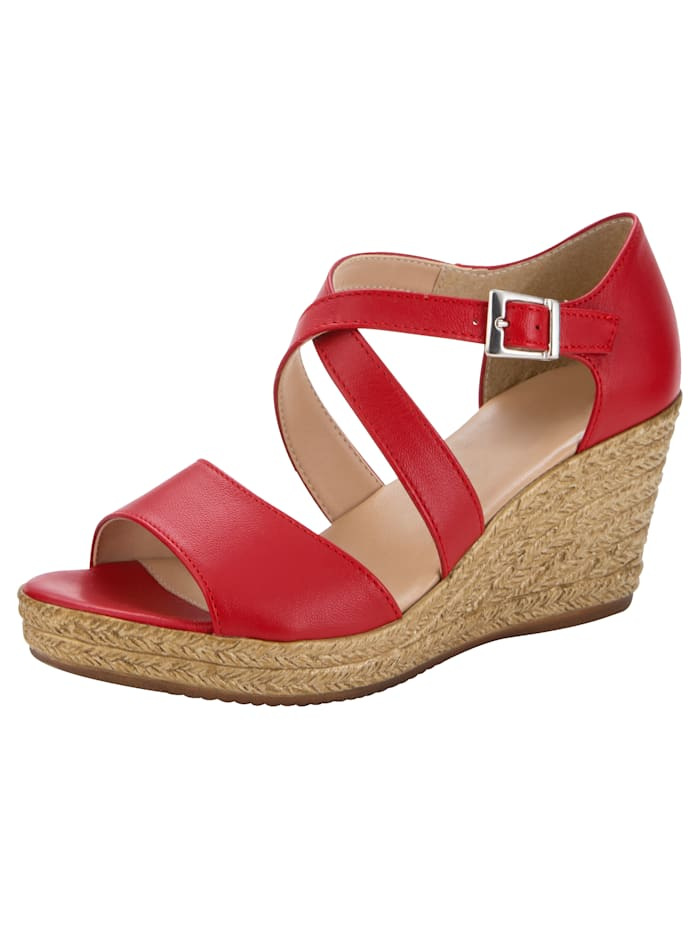 Wedge Sandals with stylish strap detailing, Red