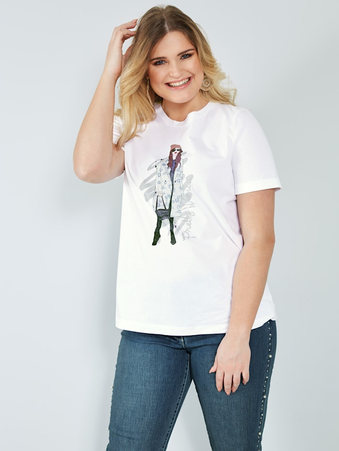 Sara Lindholm Shirt van zuiver katoen, Offwhite/Blauw