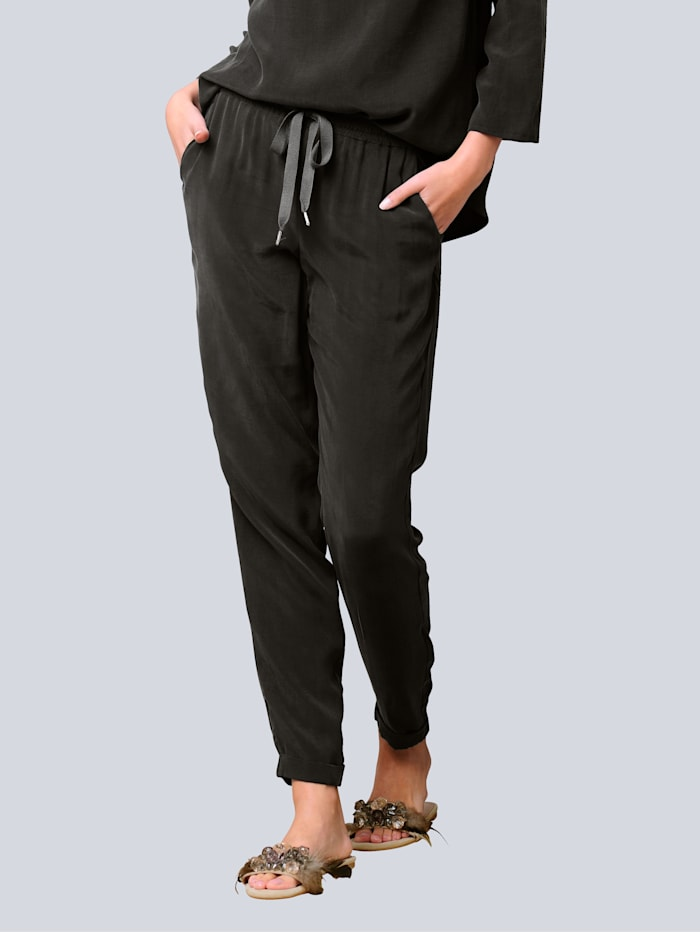 Alba Moda Hose in trendiger Joggpants-Form, Khaki