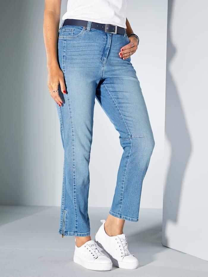 MIAMODA Jean avec bas de jambes zippé, Blue stone