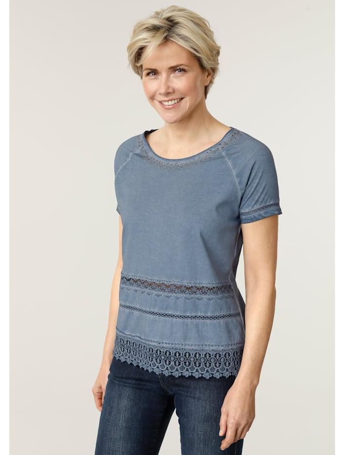 MONA Shirt mit attraktiver Häkelspitze, Blau