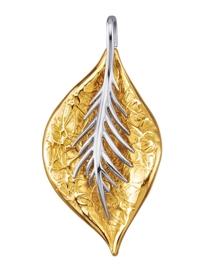 Diemer Gold Hanger Blad van 14 kt. wit- en geelgoud, Geelgoudkleur
