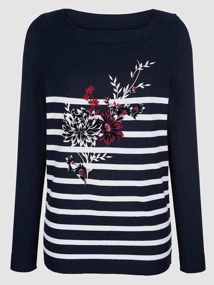 Paola Tröja med blommotiv, Marinblå/Benvit/Röd