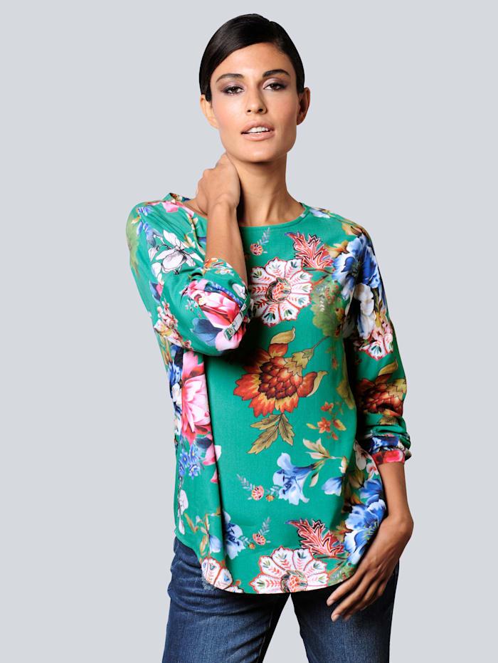 Alba Moda Bluse in topaktueller Farbgebung, Grün/Rot/Blau/Off-white