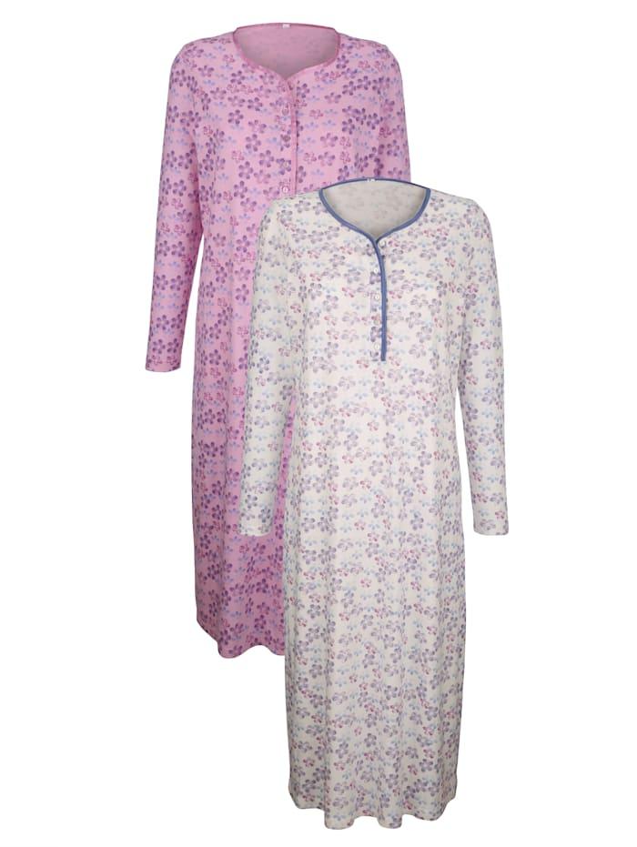 Harmony Nachthemden per 2 stuks met decoratieve contrastkleurige paspel, Ecru/Roze/Blauw