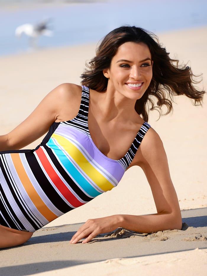 Sunmarin Badeanzug mit sommerlichen Streifen, Schwarz