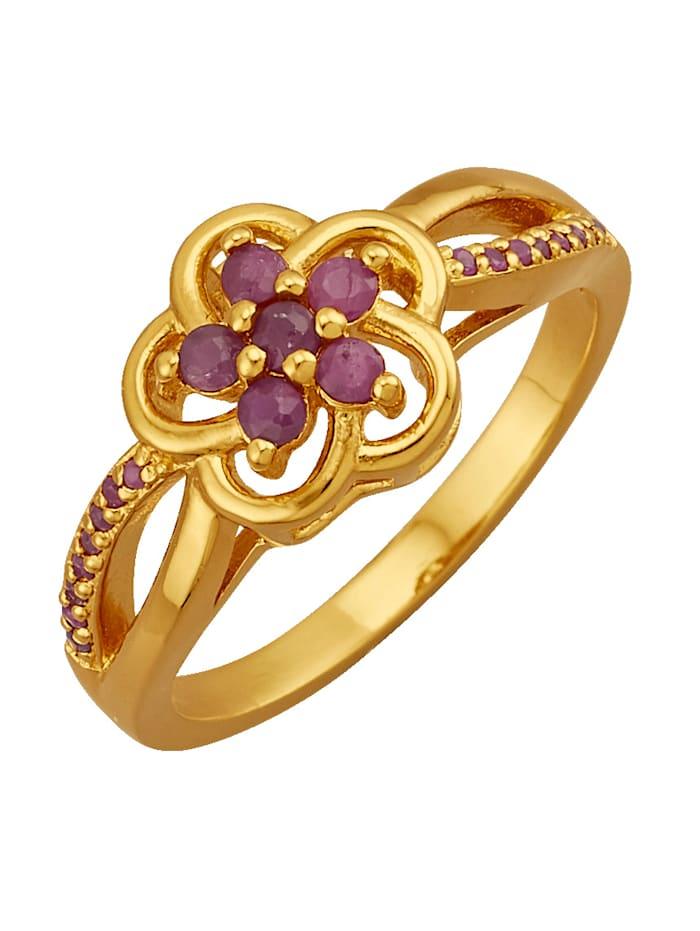 Blumen-Ring mit Rubinen, Rot