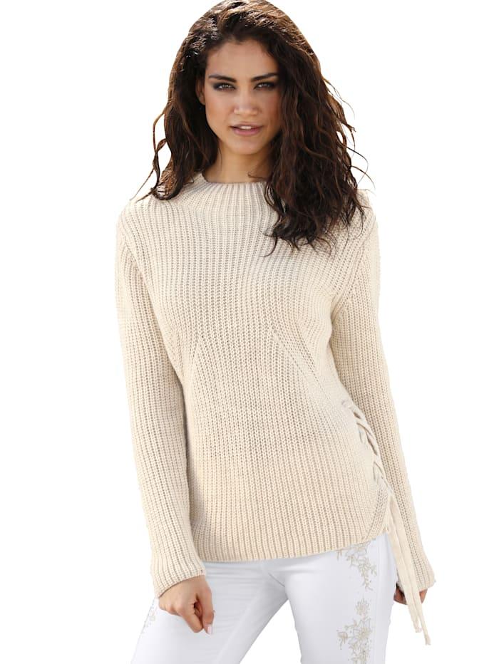 AMY VERMONT Pullover mit dekorativem Zierband, Beige