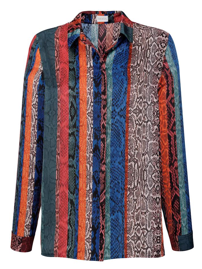 Bluse mit farbenfrohem Reptildruck