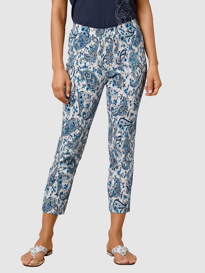 Paola Pantalon de longueur 3/4, Blanc/Marine/Bleu