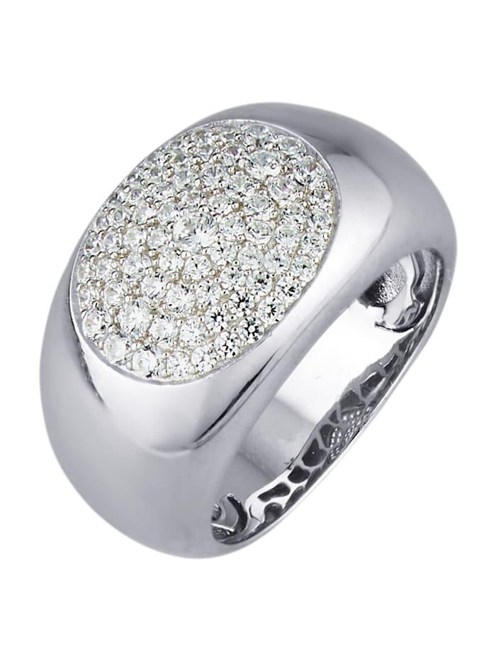 Diemer Silber Damenring mit Zirkonia, Silberfarben