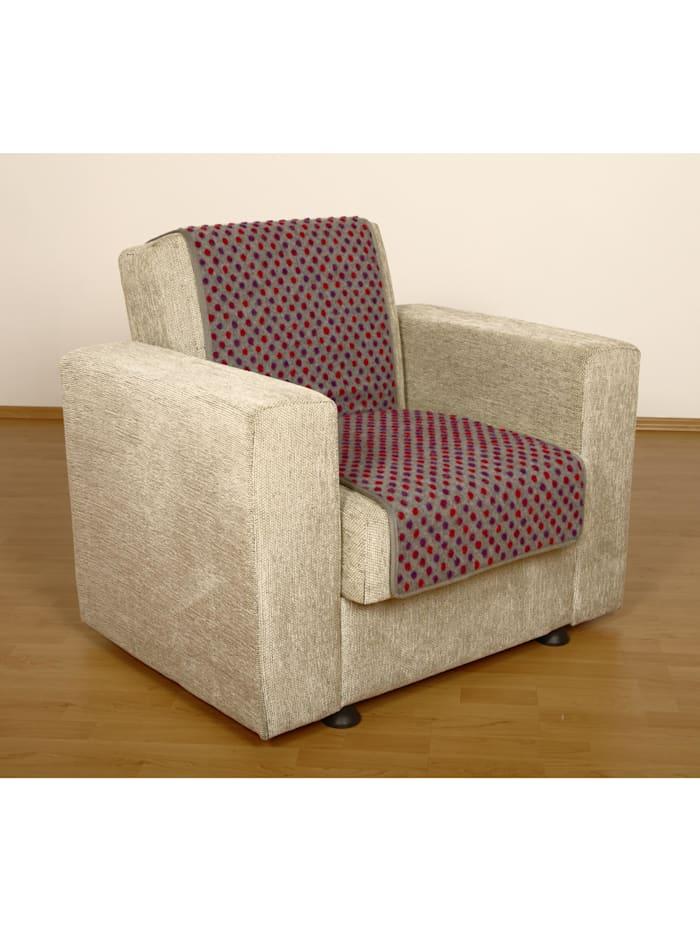 Linke Licardo Sesselschoner Sitzflächenschoner Wolle Noppen ca. 150 x 50 cm silber, silber
