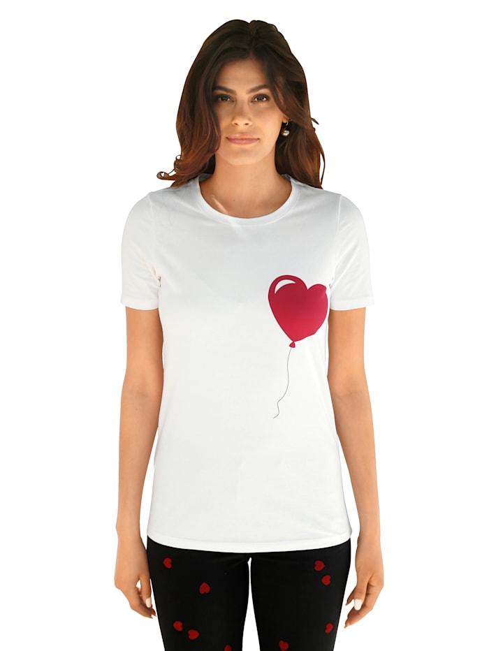 AMY VERMONT Shirt met hartjesprint, Wit/Rood