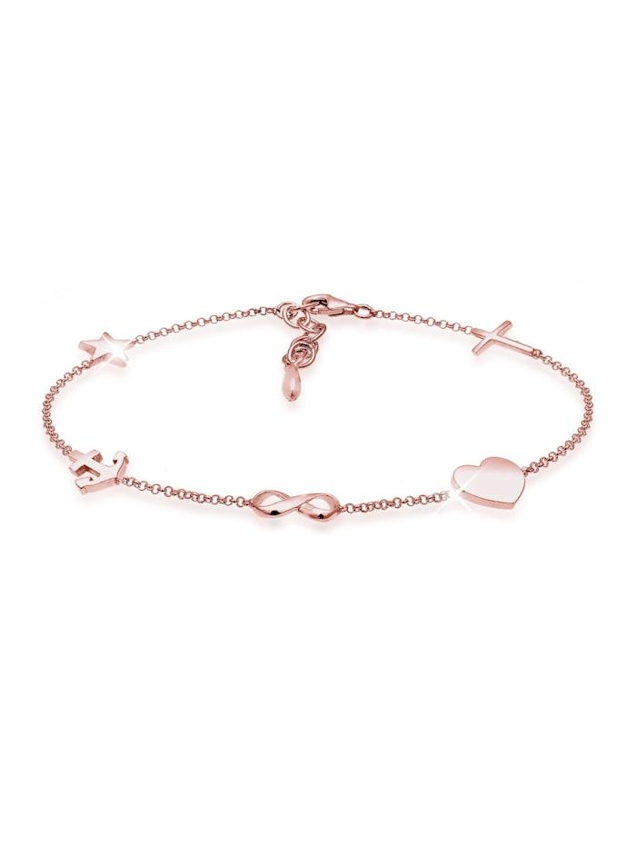 Elli Armband Kreuz Herz Infinity Anker Stern Pendant 925 Silber, Rosegold