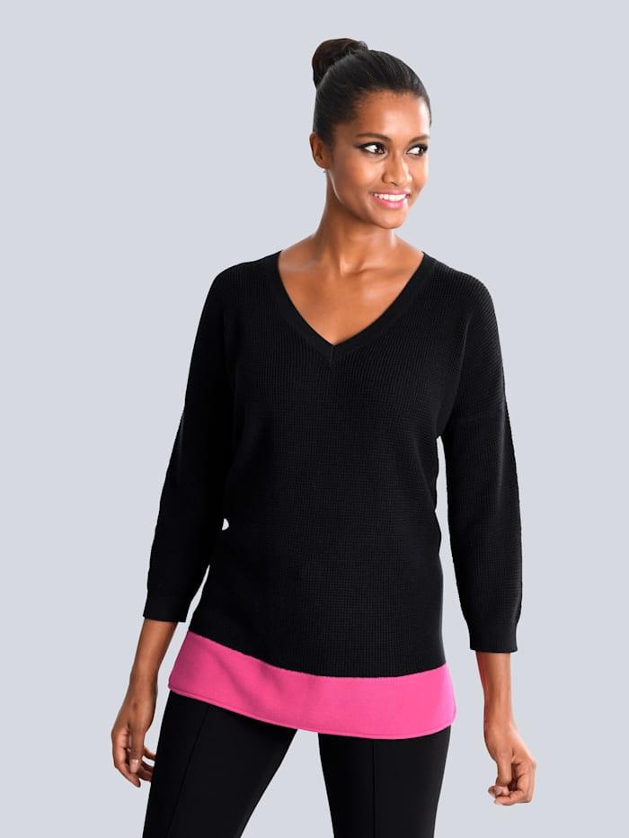 Pullover mit kontrastfarbiger Blende