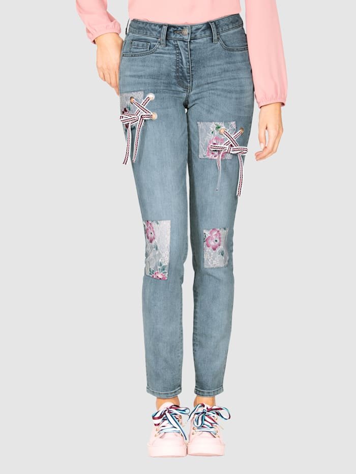 AMY VERMONT Jeans mit Spitze und Schnürung, Blue stone