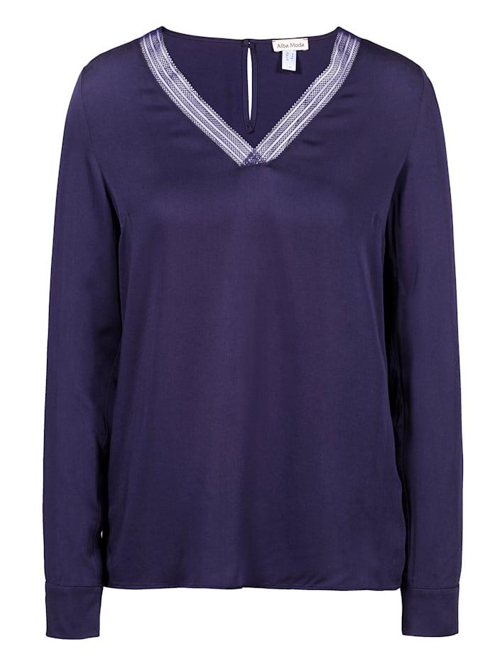 Alba Moda Bluse mit Spitze am Ausschnitt, Marineblau