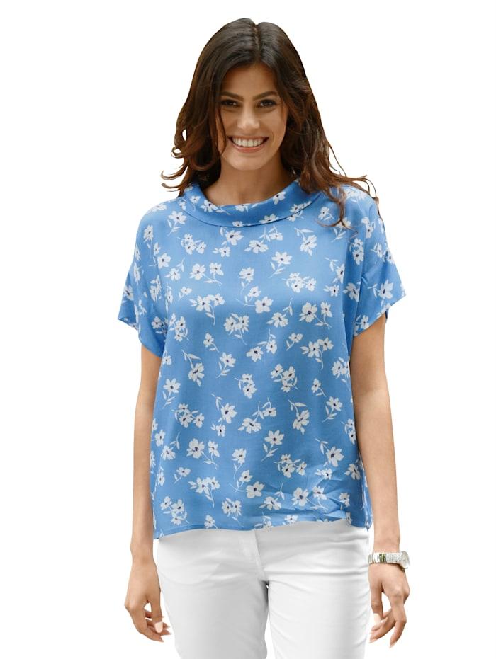 AMY VERMONT Blouse met bloemenpatroon rondom, Blauw/Wit