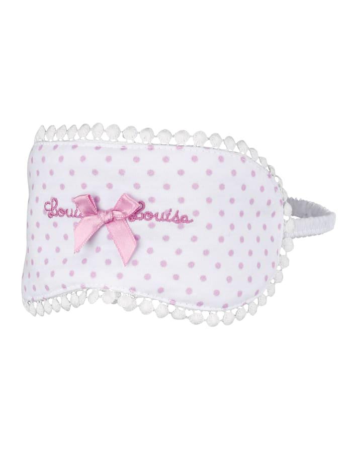 Louis & Louisa Schlafmaske mit hübscher Satinschleife, Weiß/Rosé
