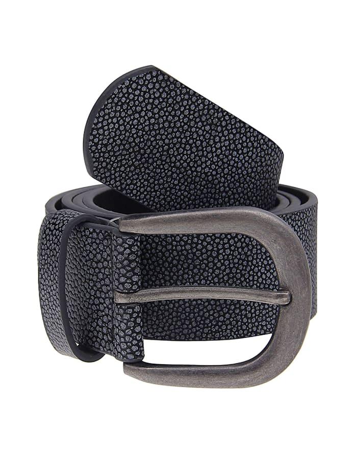 Leslii Gürtel mit modischem Punktemuster, grau-schwarz