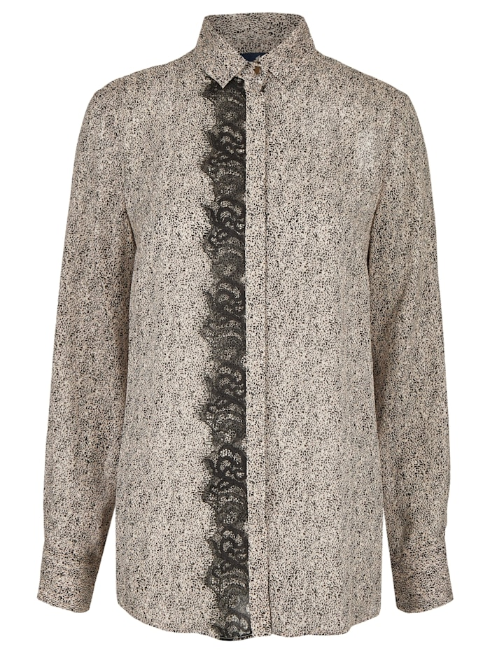 Daniel Hechter Semitransparente Bluse mit All-over-Muster, iron