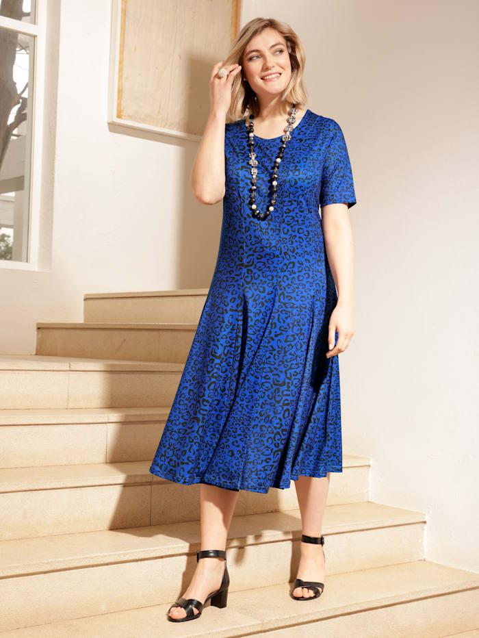 m. collection Jersey jurk met animaldessin, Royal blue/Zwart