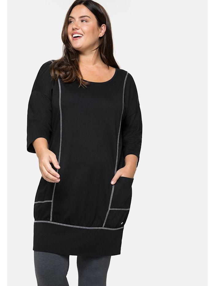 Sheego Relax-Shirtkleid mit 3/4-Ärmeln und Eingrifftaschen, schwarz
