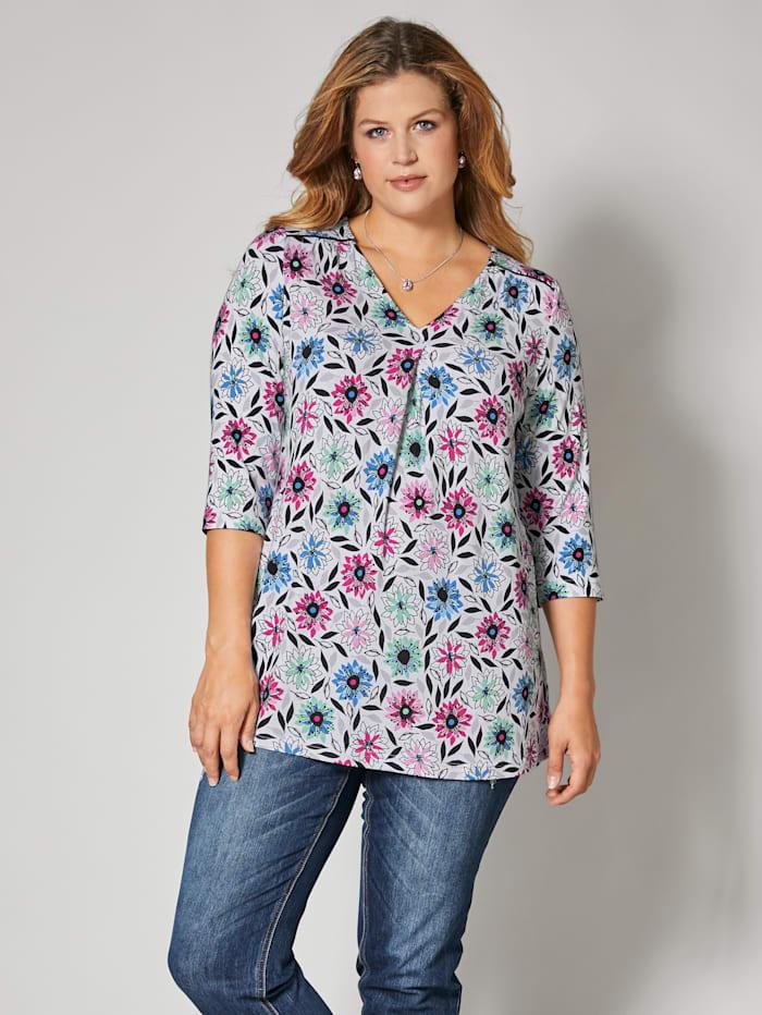Shirt met glanzende paspel