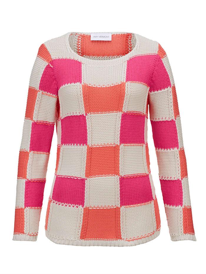 AMY VERMONT Pullover in Grobstrick, Sand/Pink/Orange