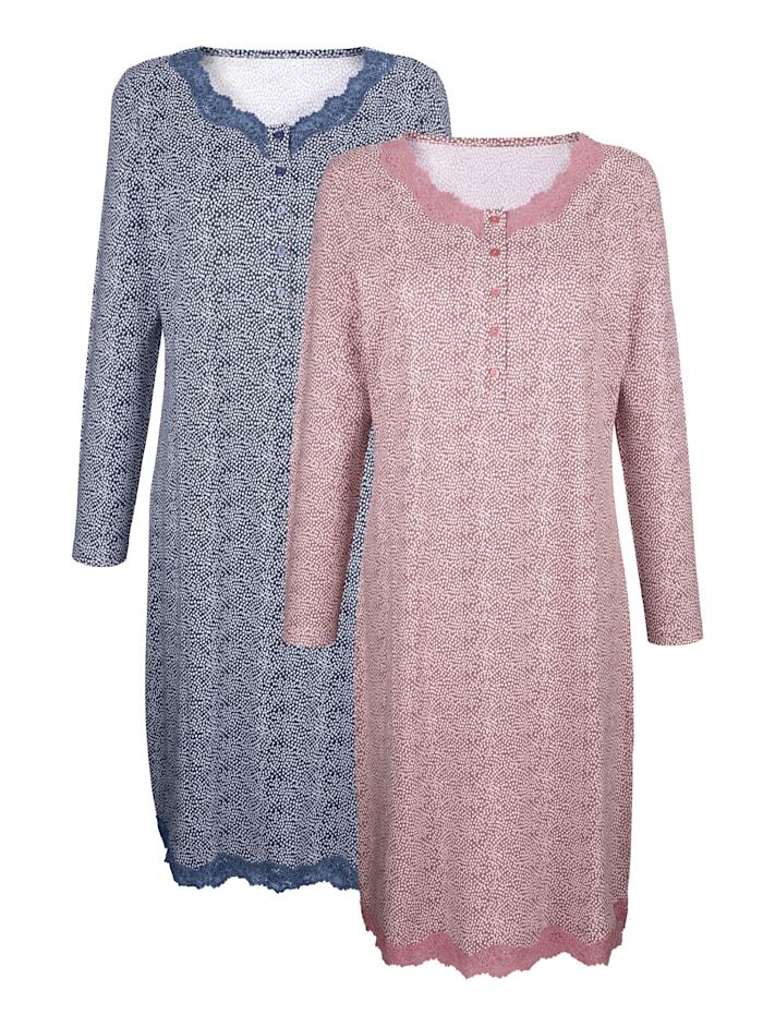 Harmony Nachthemden mit romantischen Spitzendetails 2er Pack, altrosé/rauchblau/ecru