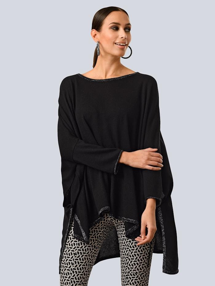 Alba Moda Hose mit modischen Zipper-Details, Schwarz/Weiß
