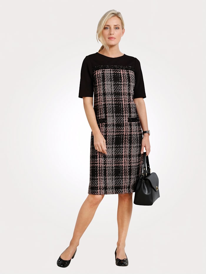 MONA Kleid in breitem Karo-Dessin, Schwarz/Rosé