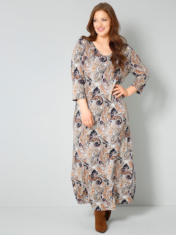 Sara Lindholm Jersey-Kleid mit Paisley Print allover, Cognac/Orange