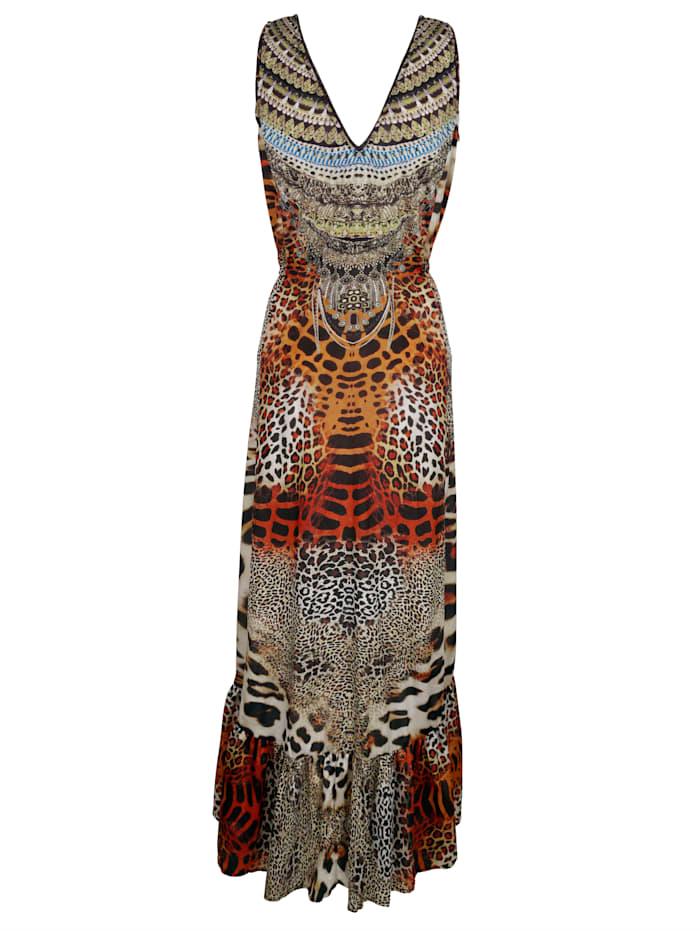 Beach dress with a bold animal print
