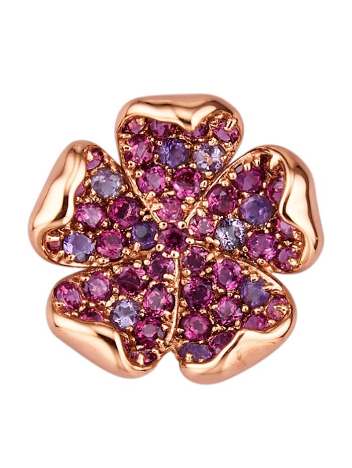 Amara Pierres colorées Pendentif fleur en or rose 585, Lilas