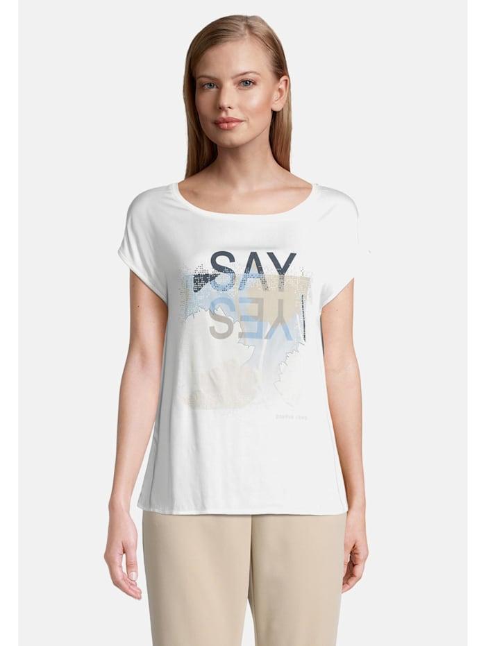Betty & Co Patchwork-Shirt kurzarm, Weiß