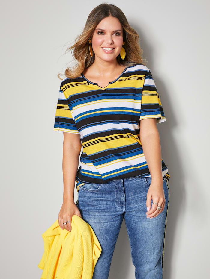 Janet & Joyce Shirt allover gestreift, Blau/Weiß/Gelb