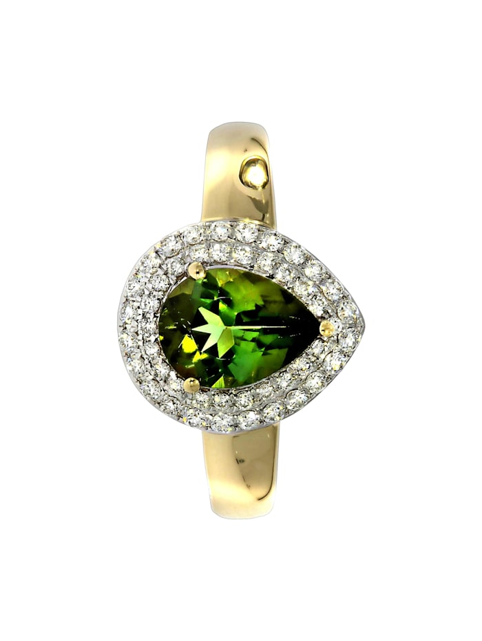 Ring 750/- Gold Turmalin grün Turmalin Glänzend 1,34ct. 750/- Gold