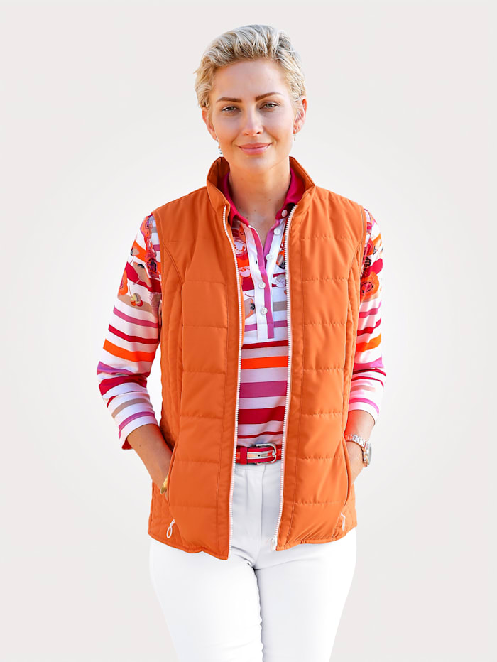 MONA Quilted gilet with light padding, Orange