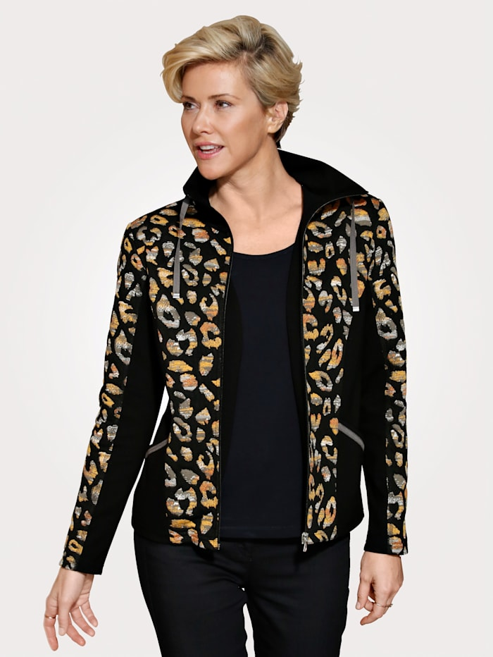 MONA Jacket with a placed animal print, Black/Ochre Yellow/Grey